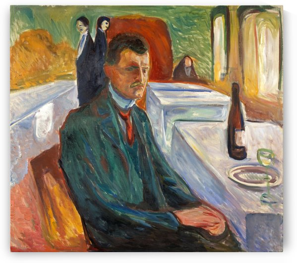 Self-Portrait with a Bottle of Wine by Edvard Munch