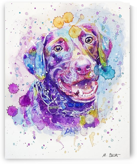 Labrador Dog - Portrait of Cooper by Marie Santos - M Santos Art