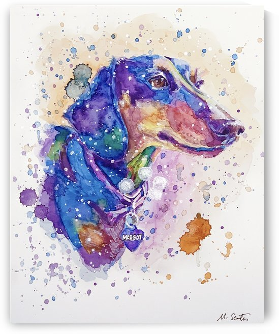 Weiner Dog - Portrait of Margot by Marie Santos - M Santos Art