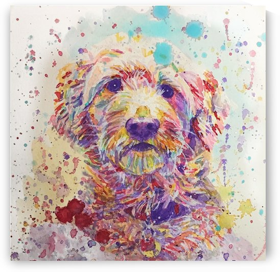 Goldendoodle - Portrait of Link by Marie Santos - M Santos Art