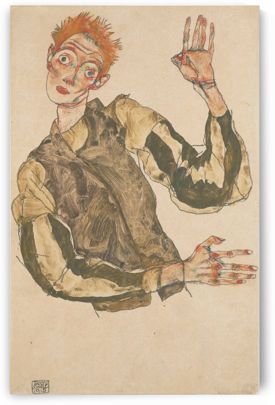 Self-Portrait with Striped Armlets by Egon Schiele