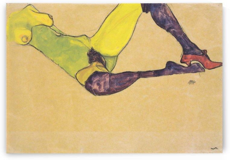 Liegender weiblicher Akttorso by Egon Schiele