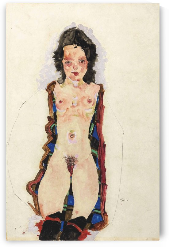 Akt mit roten Strumpfbandern by Egon Schiele