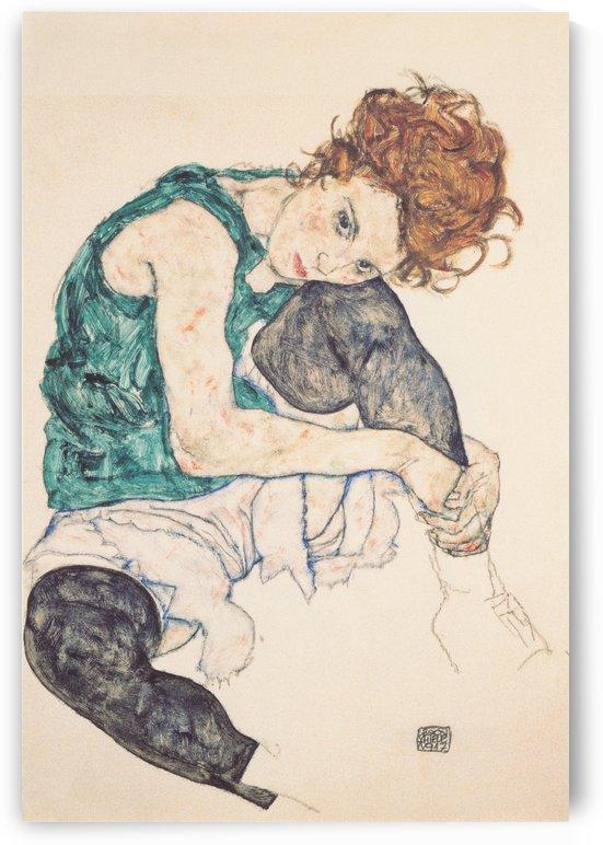 Sitzende Frau mit hochgezogenem Knie by Egon Schiele