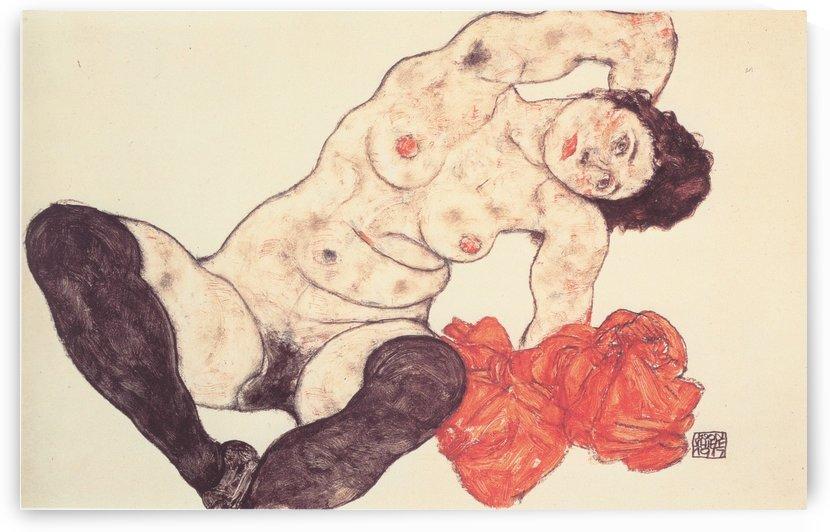Weiblicher Akt mit gelbem Handtuch by Egon Schiele