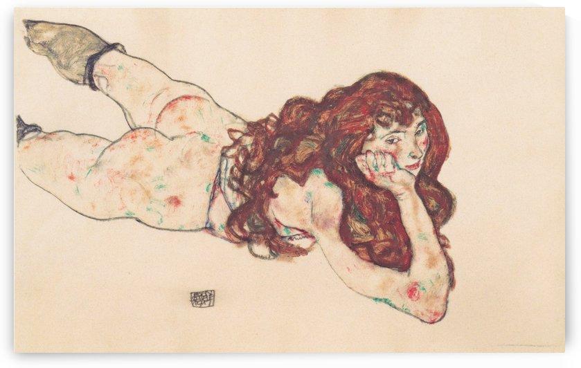 Auf dem Bauch liegender weiblicher Akt by Egon Schiele