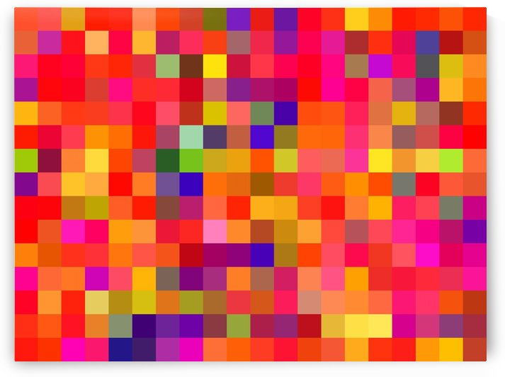 geometric square pixel pattern abstract in red pink yellow blue by TimmyLA