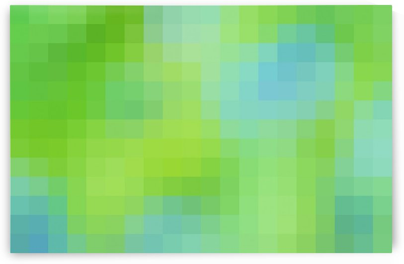 Abstract Pixel Art - blue and green 2 by Puzbie