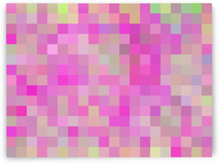 geometric square pixel pattern abstract background in pink blue green by TimmyLA