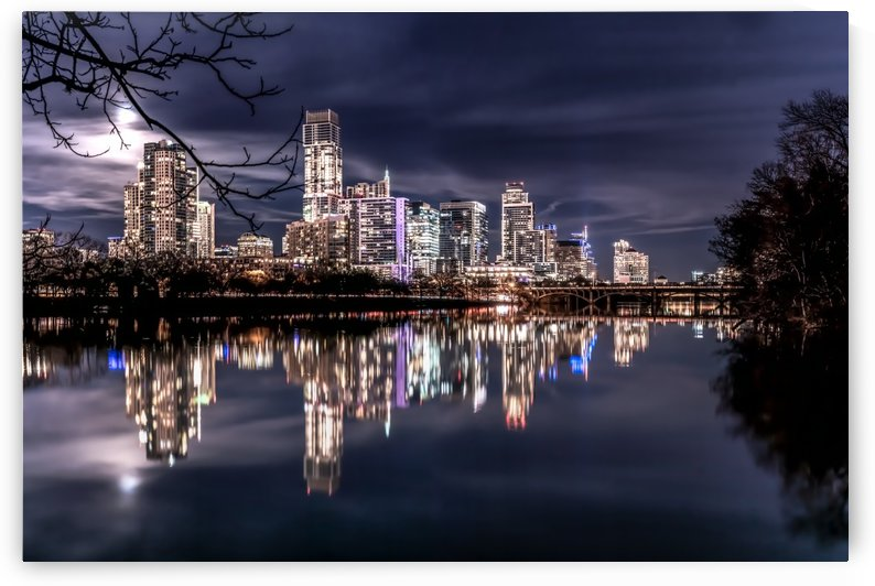 Moonlit Austin Skyline by Wilson In Austin Photography