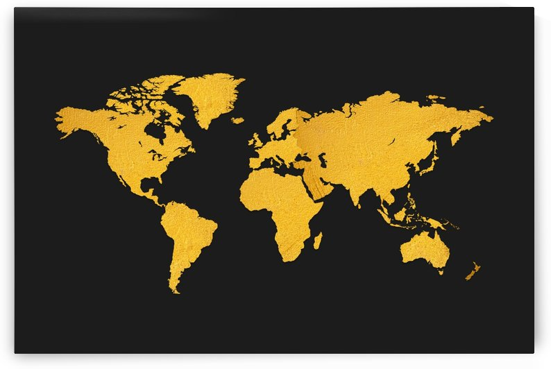 Golden World Map - Black Background  by Art Design Works