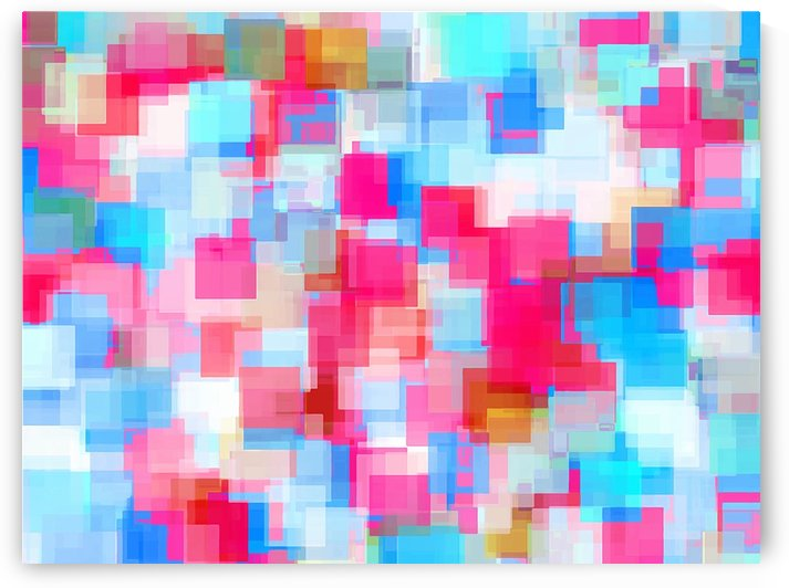 geometric square pattern abstract background in pink and blue by TimmyLA