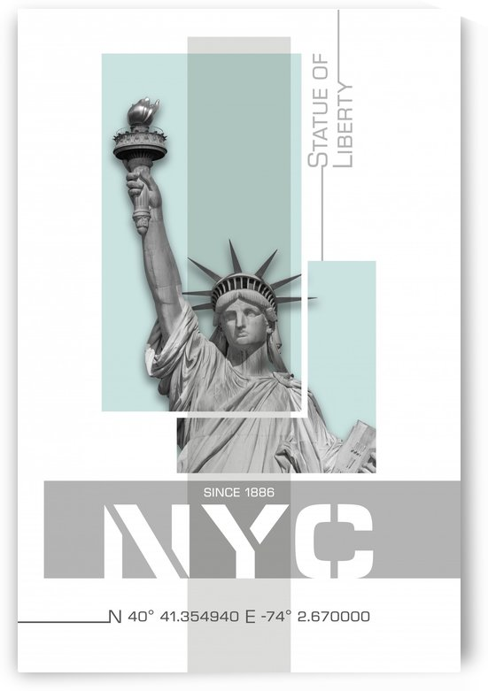 Poster Art NYC Statue of Liberty | light turquoise by Melanie Viola
