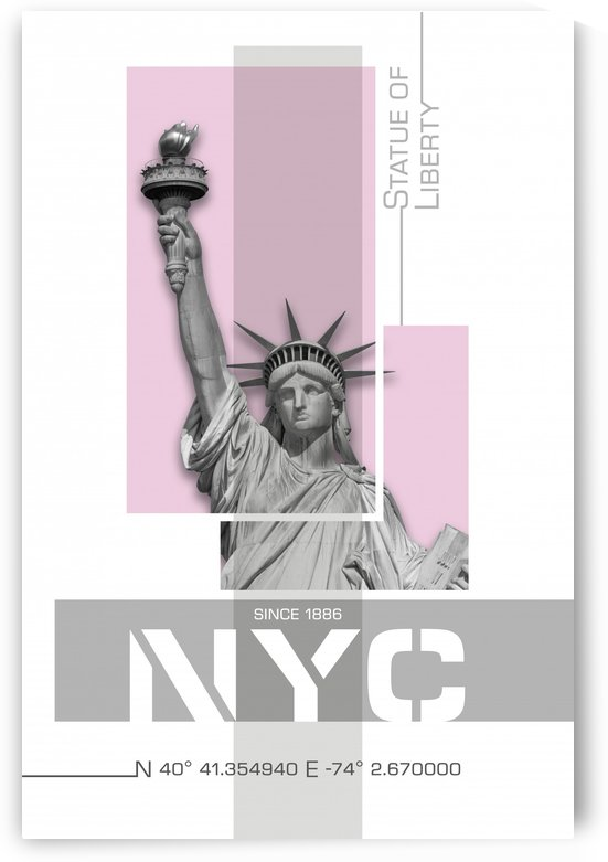 Poster Art NYC Statue of Liberty | light pink by Melanie Viola