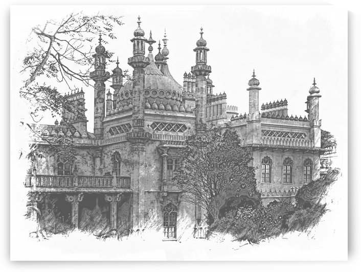 Brighton Pavilion black and white by Dorothy Berry-Lound
