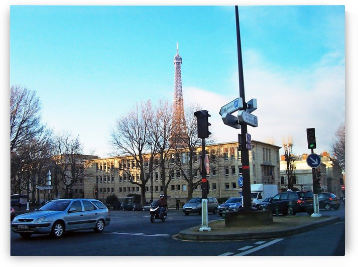 Streets Of Paris With Eiffel Tower by Deb Oppermann
