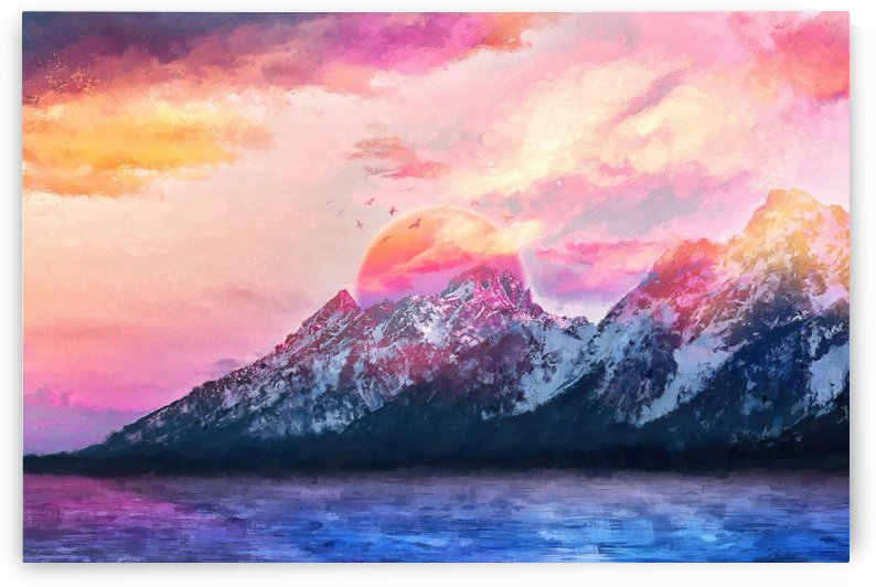 Wyoming Mountains - Modern Digital Artwork VI by Art Design Works