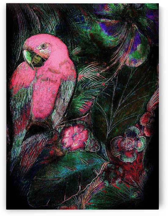 BRIGHT PINK TROPICAL MACAW  DECO PARROT POSTER ART PRINT by jacqueline mcculloch