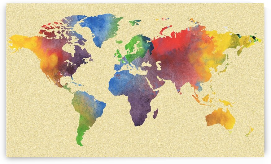 Hot And Vivid Watercolor Map Of The World by Irina Sztukowski