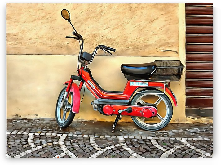 Red Piaggio Moped by Dorothy Berry-Lound