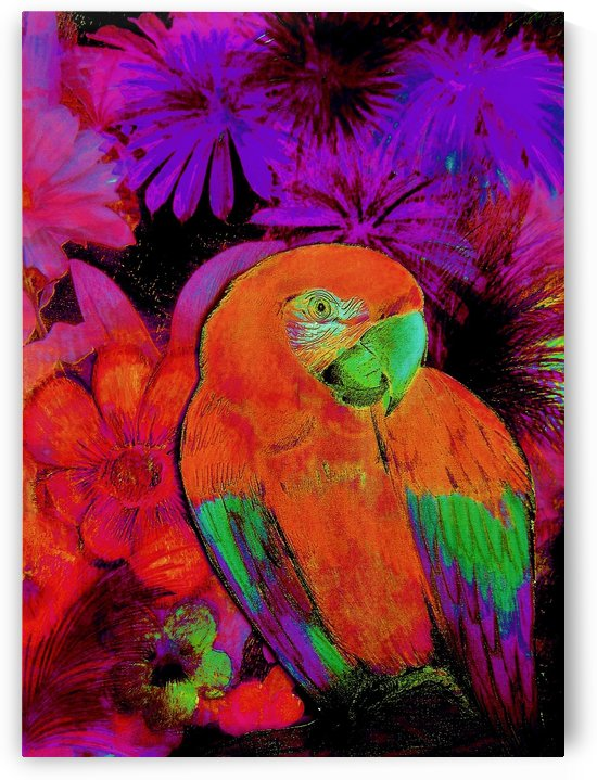 DEEP INTENSE PARROT TROPICAL MACAW DECO DESIGN ISLAND ART POSTER by jacqueline mcculloch