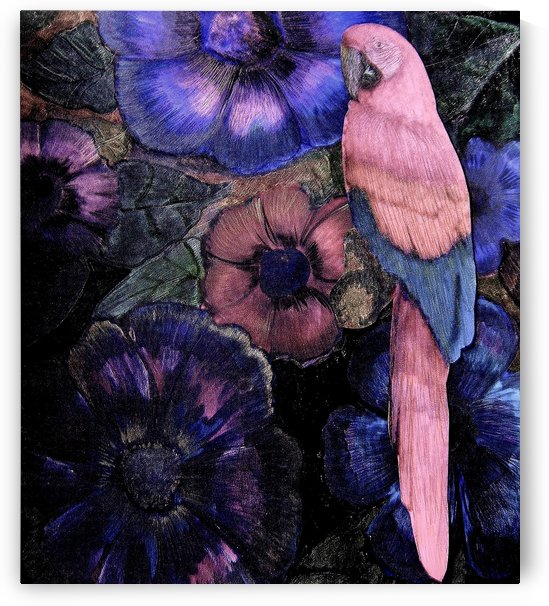 INK BLUE PINK TROPICAL EXOTIC DECO PRINT MACAW PARROT ART POSTER by jacqueline mcculloch