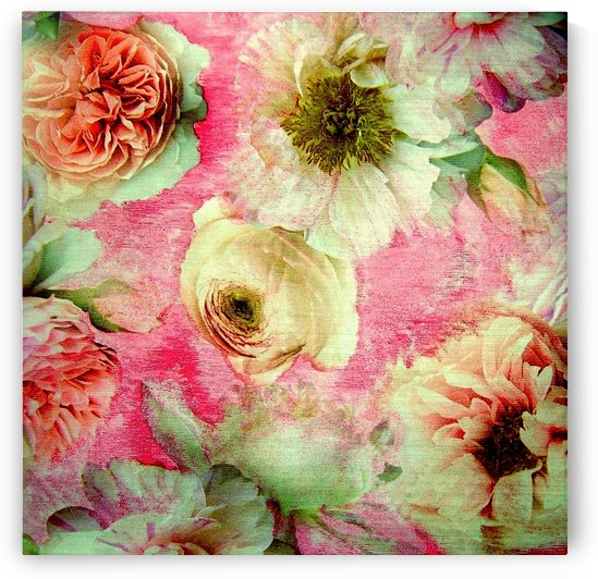 BLUSHED PEONIES  ROSES WATER COLOUR WITH SHIMMER PINK FLORAL DESIGN by jacqueline mcculloch