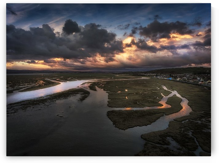 Penclawdd sunset on the Loughor estuary by Leighton Collins