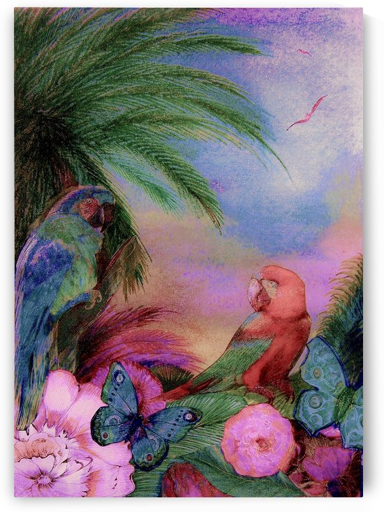 tropical island parrot deco poster by jacqueline mcculloch