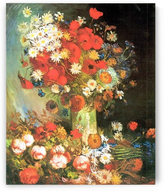 Vase with cornflowers and poppies, peonies and chrysanthemums by Van Gogh by Van Gogh