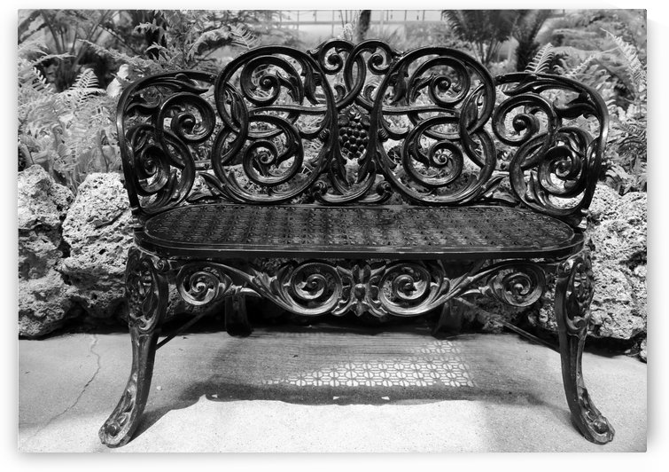 Ornate Antique Bench Belle Isle BW by Mary Bedy