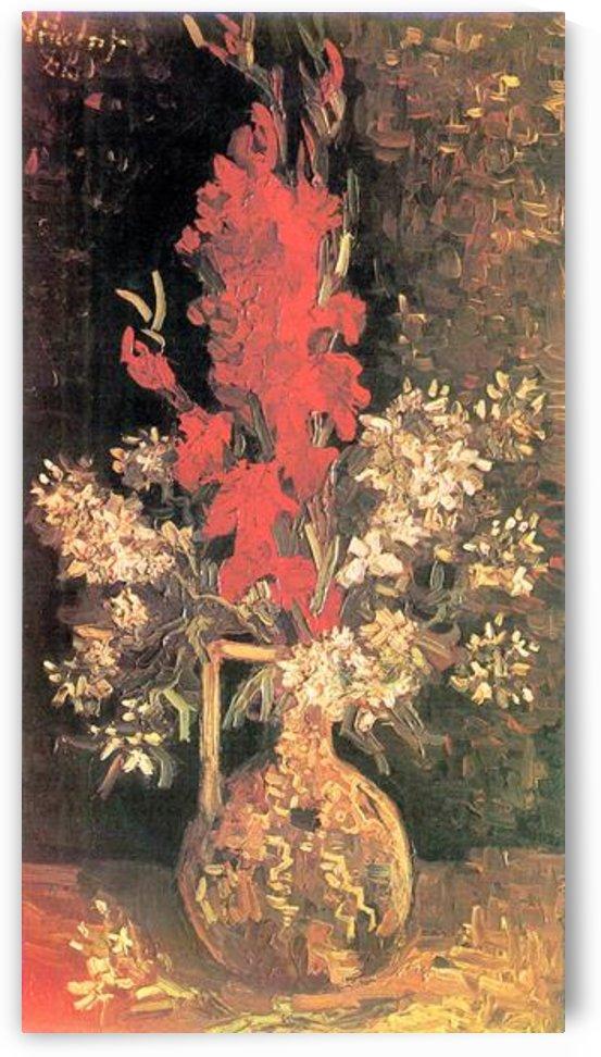 Vase with Gladiolas and Carnations by Van Gogh by Van Gogh