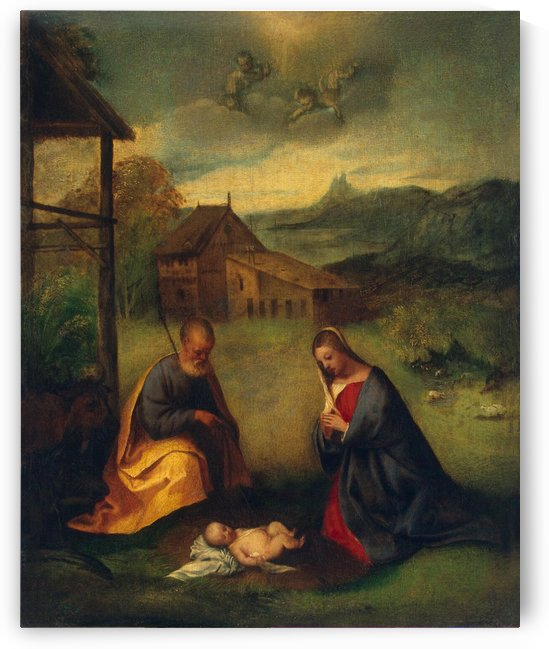 Adoration of the christ child by Giorgione