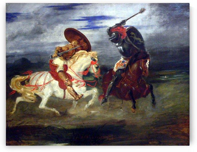 Louvre peinture francaise paire de chevaliers romantiques by Eugene Delacroix