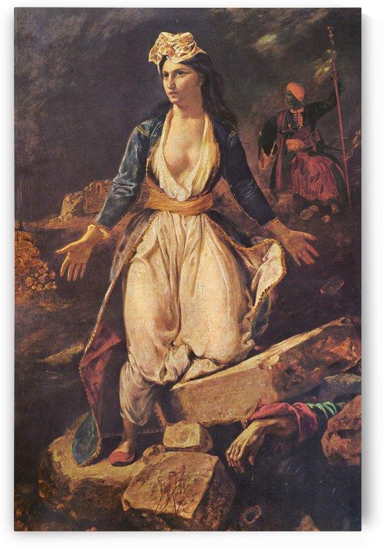 La Grece sur les ruines de Missolonghi by Eugene Delacroix