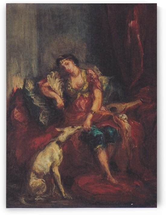 Frau aus Algier mit Windhund by Eugene Delacroix