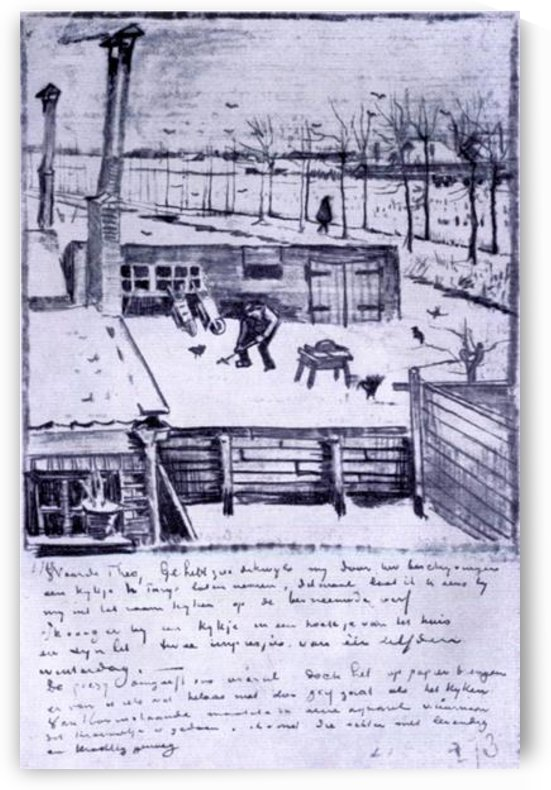 View from the window of the studio by Van Gogh by Van Gogh