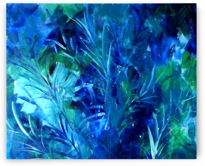 Blue Ferns 1 abstract floral  by Julie Hollis