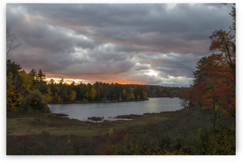Autumn Sunset on Messer Pond 1 by Bob Corson