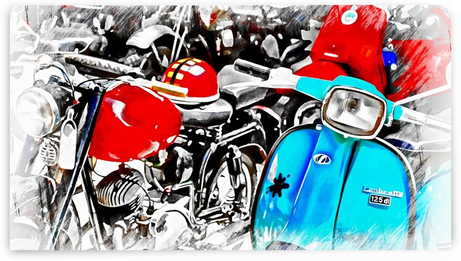 A Splash of Blue Lambretta by Dorothy Berry-Lound