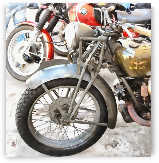Moto Guzzi and BMW Front Wheels by Dorothy Berry-Lound