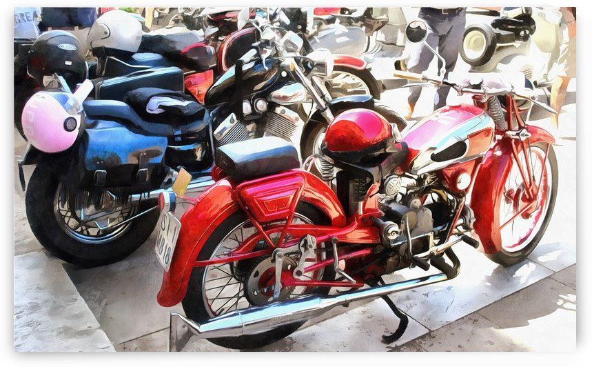 Colourful Motorcyles and Helmets by Dorothy Berry-Lound