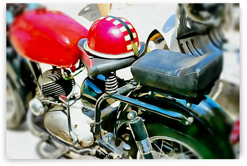 Vintage Motorcycle and Helmet by Dorothy Berry-Lound
