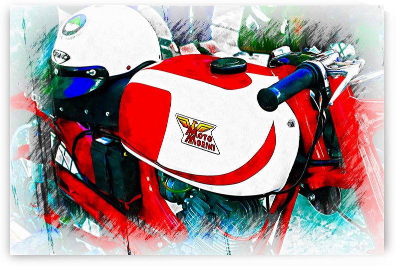 Moto Morini Motorcyle With Helmet by Dorothy Berry-Lound