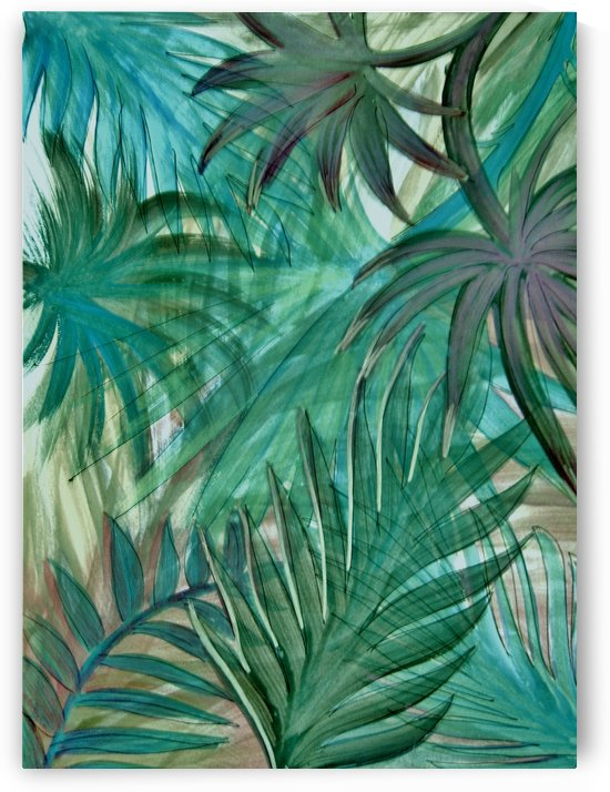 green turquoise palm leaves by jacqueline mcculloch
