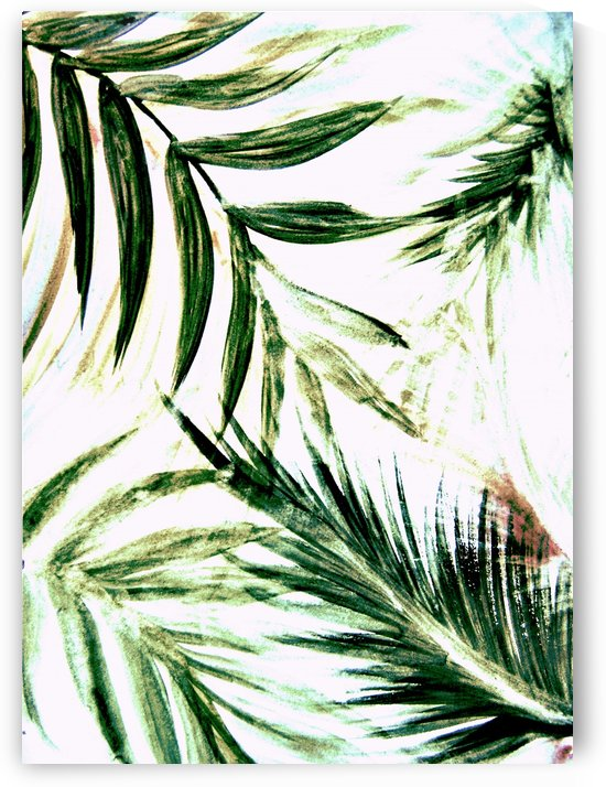 white green palm tree leaves tropical print by jacqueline mcculloch