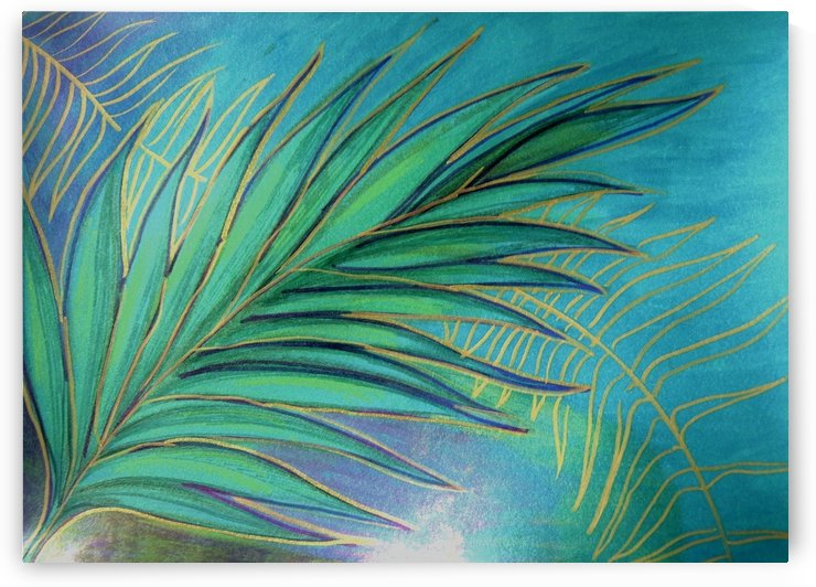 AQUA GREEN PALM LEAF TROPICAL BOTANICAL PRINT by jacqueline mcculloch
