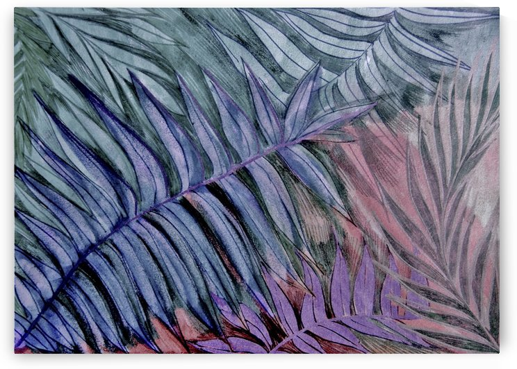 tropical collection no1 green blue palm leaves botanical print by jacqueline mcculloch