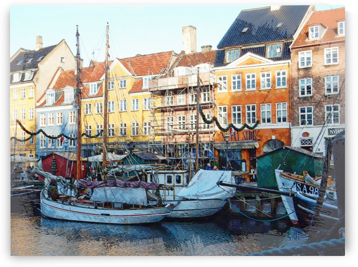 Activity on Nyhavn Harbour by Dorothy Berry-Lound
