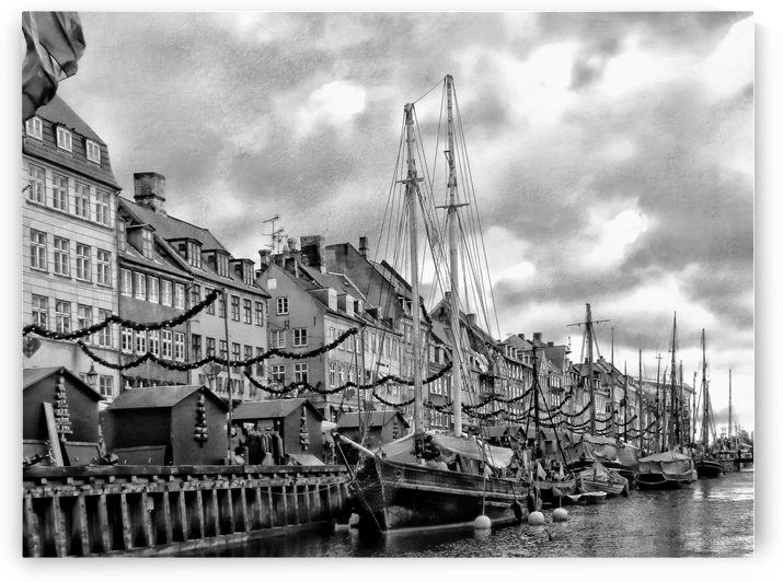 Nyhavn harbour black and white by Dorothy Berry-Lound